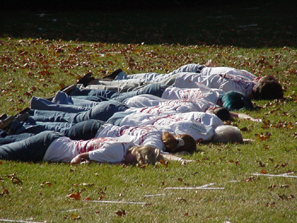 Students at the University of St. Thomas, in St. Paul, Minnesota, reenact the slaughter.